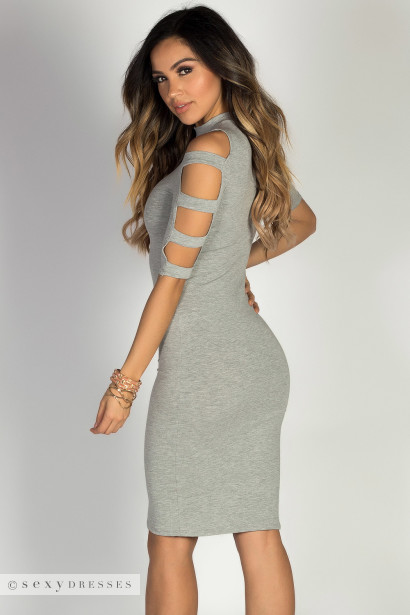 """Rosalind"" Heather Grey Ladder Cut Out Mock Neck Bodycon Dress"