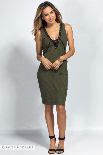 Juniper Olive Green Ribbed Bodycon Plunging Lace Up Tank Dress