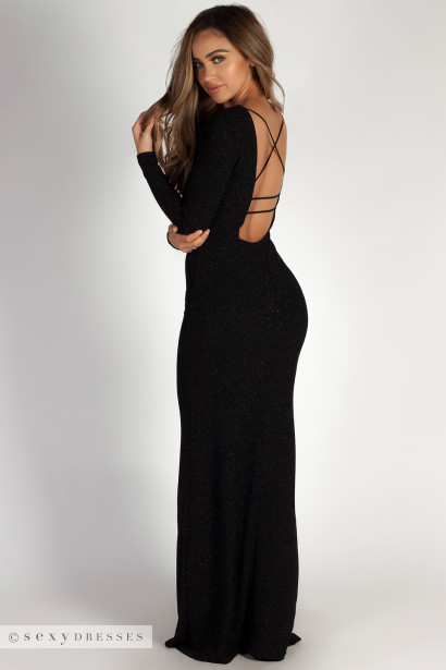 """Above it All"" Black Shimmer Long Sleeve Maxi Dress"