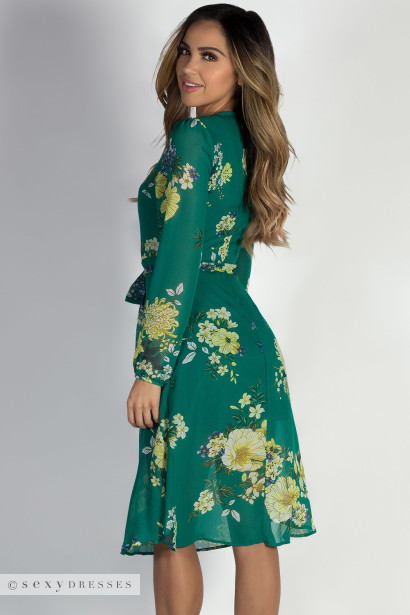 """Romantic at Heart"" Green Long Sleeve Floral Dress"