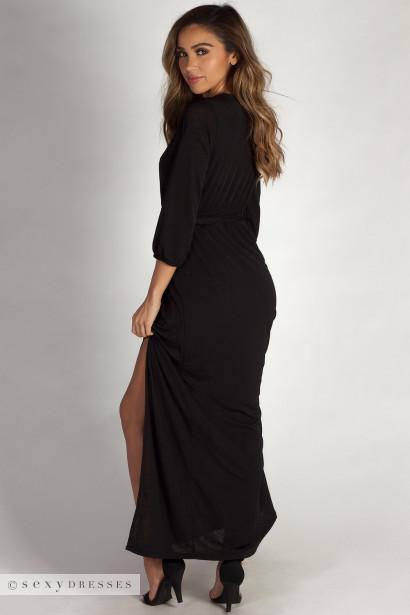 """""""Say Something"""" Black Long Sleeve V-Neck Maxi Dress"""