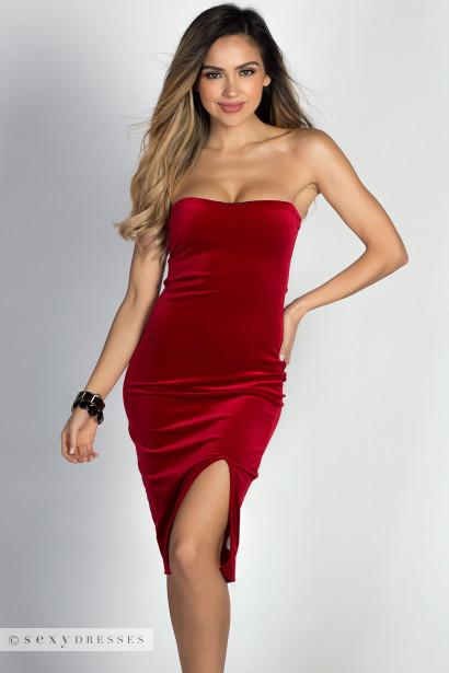 """Miracle"" Red Velvet Strapless Bodycon Midi Dress"