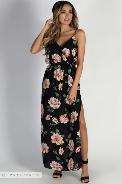 """Summer Romance"" Black Floral Maxi Dress"