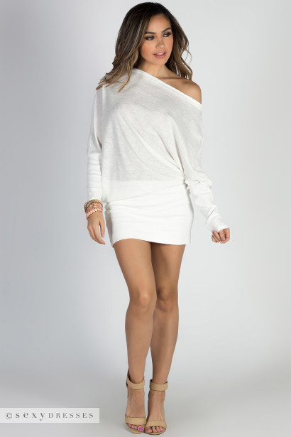 """With You"" Ivory Sparkles Asymmetrical Dolman Sweatshirt Dress"
