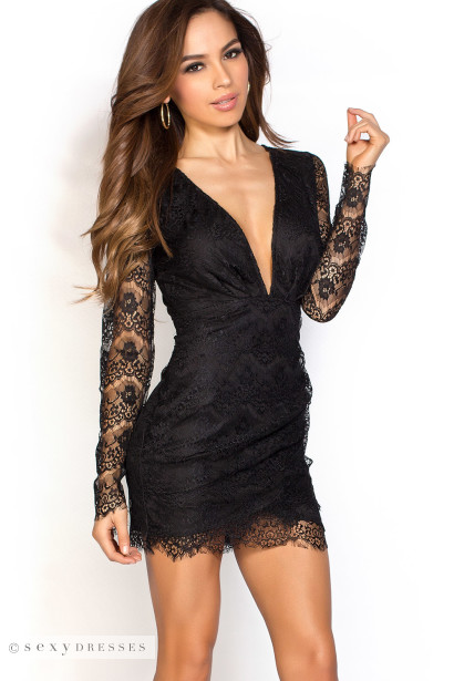 When going out for an exciting night in town, you can always count on an alluring black lace dress to be your counterpart for the evening! Choose from a wide variety of beautiful styles, ranging from simple yet stunning shirred one-piece dresses to timeless 3/4 sleeve lace knit piece.