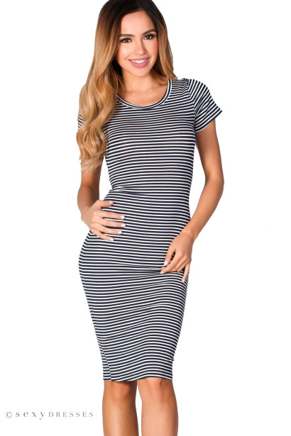 """Sylvie"" Navy & White Stripes Short Sleeve Cut Out Midi Dress"