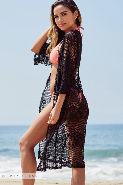 Island Breeze Black Long Lace Beach Cover Up
