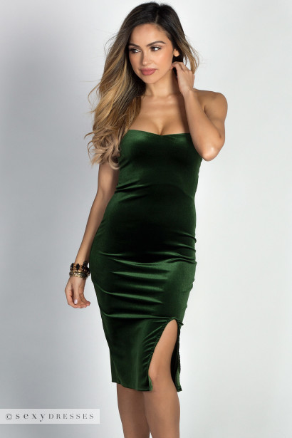 """Miracle"" Hunter Green Velvet Strapless Bodycon Midi Dress"