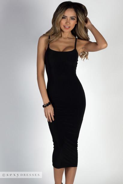 Angel Heart Black Elegant Simple Bodycon Long Midi Dress