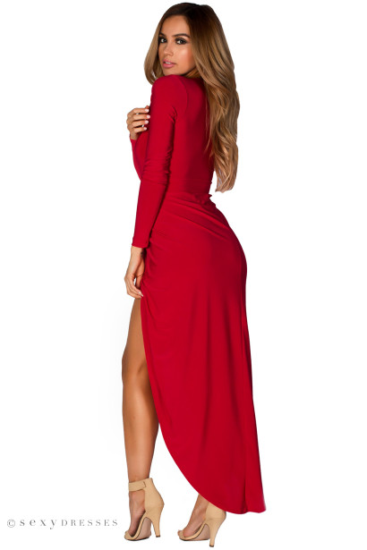 """Irene"" Red Long Sleeve Maxi Dress with Plunging Neckline"