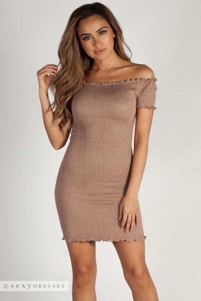 """Don't Mention Me"" Taupe Off Shoulder Ruffled Dress"