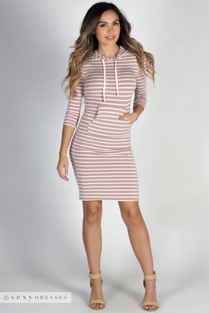 """""""Ivy League"""" Mauve & White Striped 3/4 Sleeve Hooded Dress"""