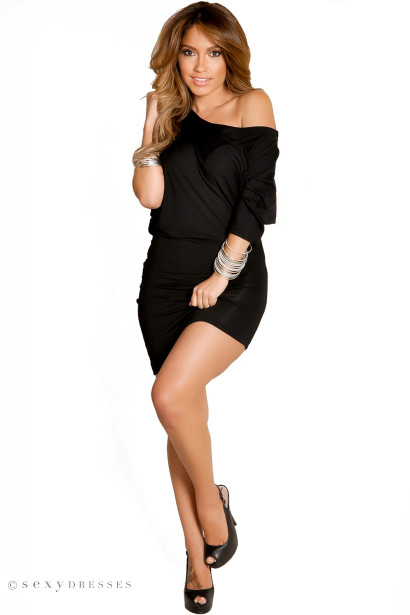 """Courtney"" Black Sexy Off the Shoulder T-Shirt Dress"