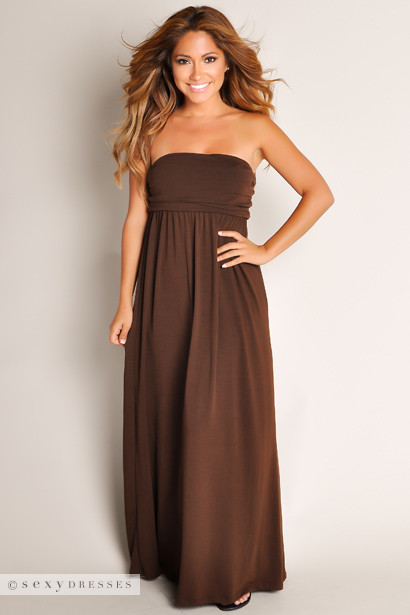 Cute Chocolate Brown Summertime Glam Flowy Solid Color Tube Top ...