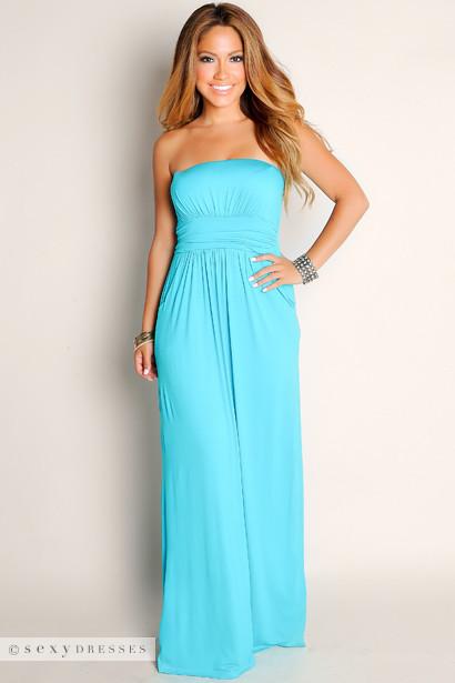 Sexy Aqua Blue Life S A Beach Flowy Empire Waist Tube Top Maxi Dress