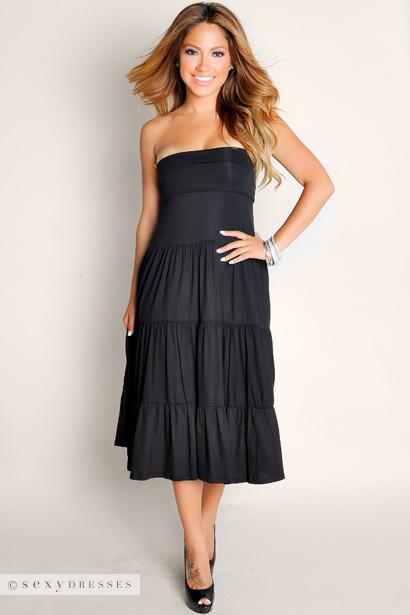 Sexy Black Beach Babe Flowy Strapless Tube Top Maxi Dress-4628