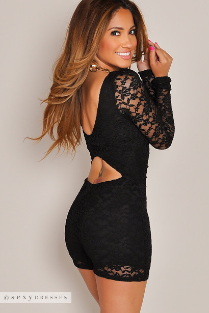 Carmen Black Back Cut Out Long Sleeve Lace Romper