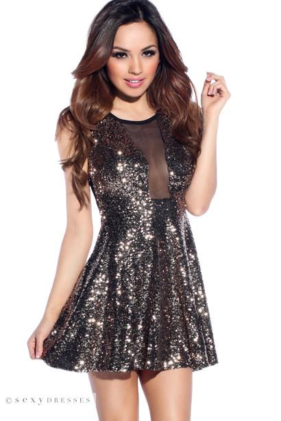 405cd898a3 Sexy Gold Sequins Mesh Skater Dress