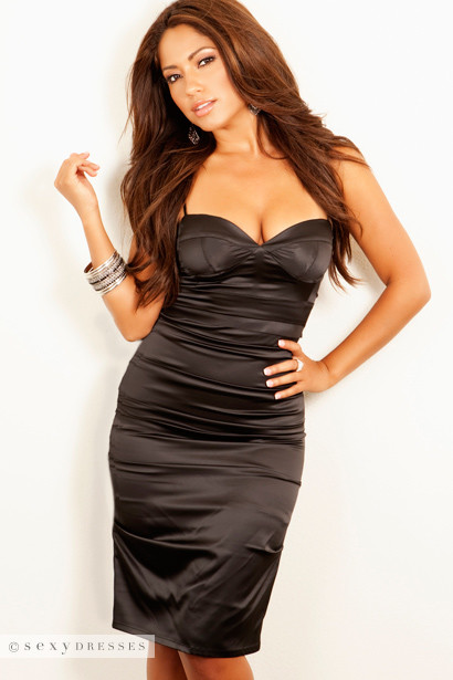 Sexy Dress Satin Black Evening Party Dresses