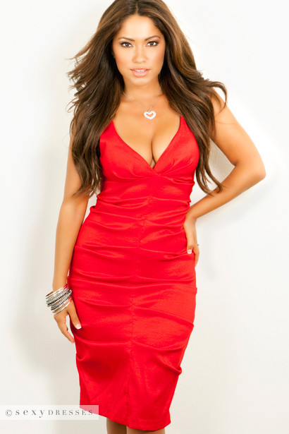 Sexy Dress Formal Deep V-Neck Red with Designer Folds - Cocktail ...