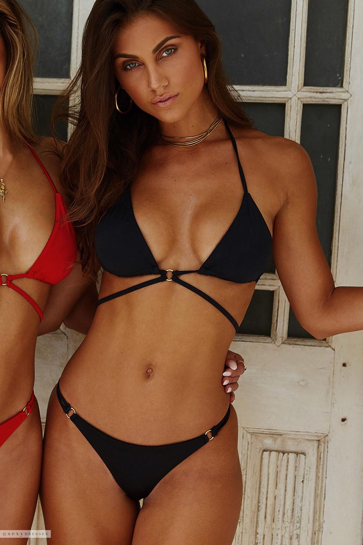 Black Center Loop Wrap Around Bikini Top   Black Double Strap Side Loops  Brazilian Thong Bikini Bottom bb5cef78bcb