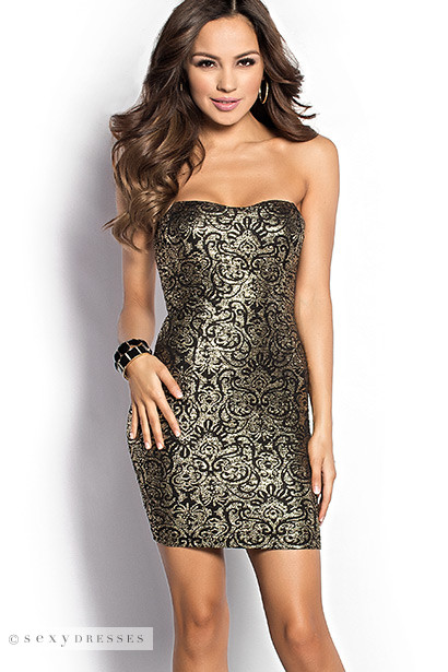 Heidi Black And Gold Foil Bodycon Short Strapless Dress Party