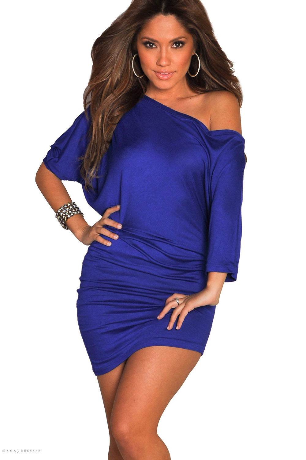 Courtney Royal Blue Sexy Off The Shoulder T Shirt Dress