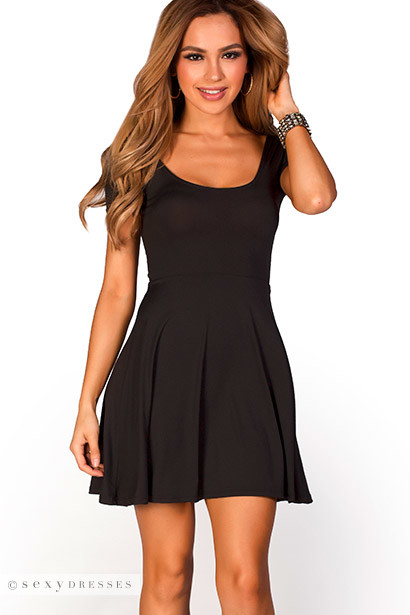 Brynn Black A Line Empire Waist Casual Short Sleeve Dress
