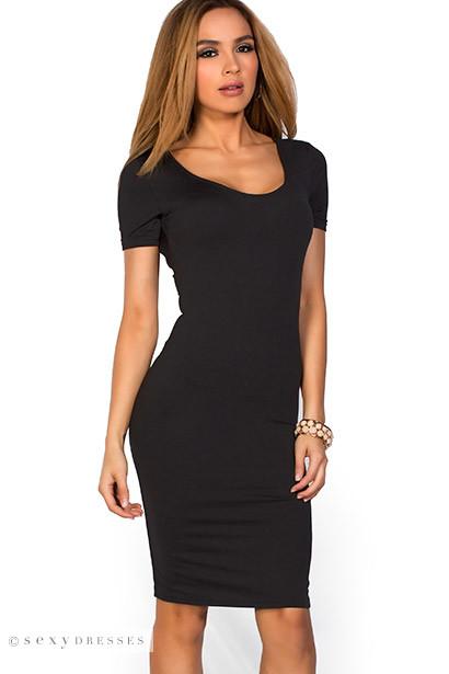 Prue Black Short Sleeve Jersey Bodycon Casual Dress