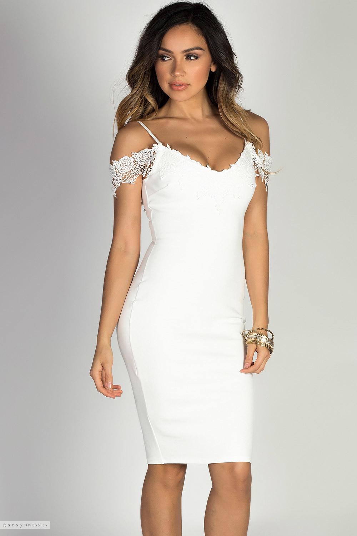 timeless white lace trim off shoulder bodycon ponte midi dress