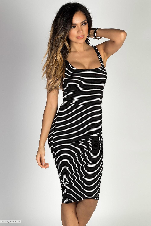 Stripes Bodycon Collarless Dresses Sleeveless box zoe