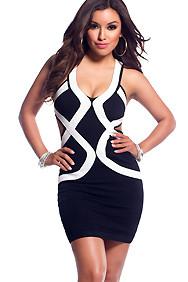 Black and White Curvy Shape Colorblock Bandage Dress