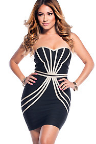 Black with Tan Lines Sweetheart Tube Top Bandage Dress