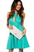 Mint Crochet Lace Wrap Halter Party Dress