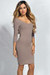 """Dylan"" Taupe 3/4 Sleeve Cute and Casual Bodycon Dress"
