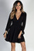 """Social Butterfly"" Black Classy Ribbon Sleeve Surplice Dress"