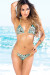 Belize Reversible Swimwear Gold & Turquoise Zebra Print Sexy Single Rise Bikini