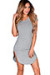 """Ciara"" Gray Ribbed Jersey Short Sleeve Bodycon Casual Tunic Dress"