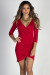 """Gemma"" Red 3/4 Sleeve Ruched Jersey Wrap Dress"
