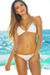 White & Gold Fixed Triangle Top & Classic Scrunch Bikini