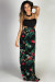 """Together Again"" Black & Floral Print Cut Out Bodice Maxi Dress"