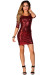 """""""Sadie"""" Red Fitted Sequin Party Dress with Sleeves"""