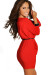 """""""Brooke"""" Red Faux Wrap Dress with Sleeves"""
