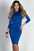 """Alva"" Royal 3/4 Sleeve Jersey Bodycon Turtleneck Midi Dress"