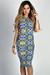 """Jamie"" Blue & Coral Morrocan Print Short Sleeve Bodycon T Shirt Midi Dress"