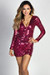 """Kathleen"" Magenta Long Sleeve Deep V Sequin Sheath Wrap Dress"