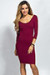 """Dylan"" Burgundy 3/4 Sleeve Cute and Casual Bodycon Dress"
