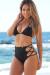 Black Triangle Top Sexy Lace Up High Waist Scrunch Bottom Bikini