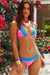 Neon Pink & Blue Edge Lace Triangle Top & Neon Pink & Blue Lace Banded Classic Bottom