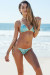 Amsterdam Gold & Aqua Sequins Single Rise Scrunch Bottom Sexy Ring Bikini